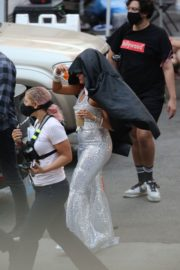 Bebe Rexha and Doja Cat on the Set of Baby I'm Jealous Music Video in Los Angeles 2020/09/23 14