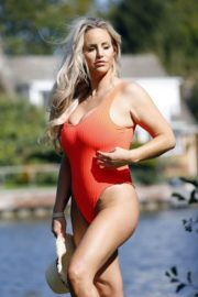 Danielle Mason in a Red Swimsuit 2020/09/18 7