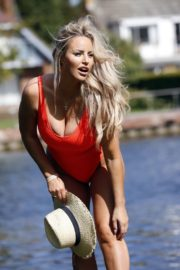Danielle Mason in a Red Swimsuit 2020/09/18 13