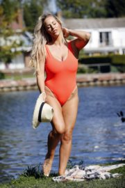Danielle Mason in a Red Swimsuit 2020/09/18 16