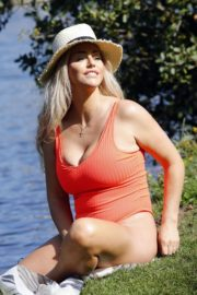 Danielle Mason in a Red Swimsuit 2020/09/18 20