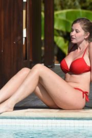 Amy Hard in a Red Bikini at a Pool in Portugal 2020/10/01 1