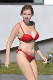 Amy Hard in a Red Bikini at a Pool in Portugal 2020/10/01 7
