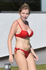 Amy Hard in a Red Bikini at a Pool in Portugal 2020/10/01 8