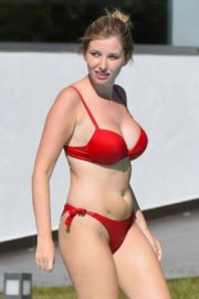 Amy Hard in a Red Bikini at a Pool in Portugal 2020/10/01 9