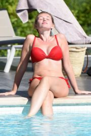 Amy Hard in a Red Bikini at a Pool in Portugal 2020/10/01 12