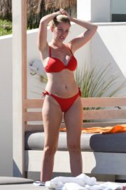 Amy Hard in a Red Bikini at a Pool in Portugal 2020/10/01 17