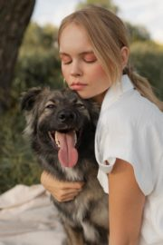 Anastasiya Shcheglova Photoshoot with Dog for Fashion Dobro 2020 Issue 4