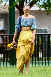Candice Swanepoel in  Off Shoulder Tops and Logn Skirt in Miami Beach 2020/10/25 2