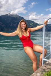 Corinne Suter in a Red Swimsuit at a Photoshoot, August 2020 7