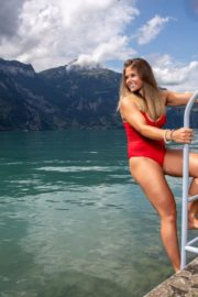 Corinne Suter in a Red Swimsuit at a Photoshoot, August 2020 8