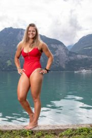Corinne Suter in a Red Swimsuit at a Photoshoot, August 2020 9