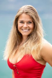 Corinne Suter in a Red Swimsuit at a Photoshoot, August 2020 10