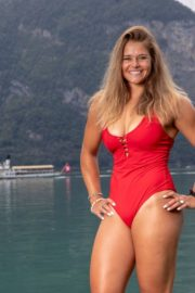 Corinne Suter in a Red Swimsuit at a Photoshoot, August 2020 11