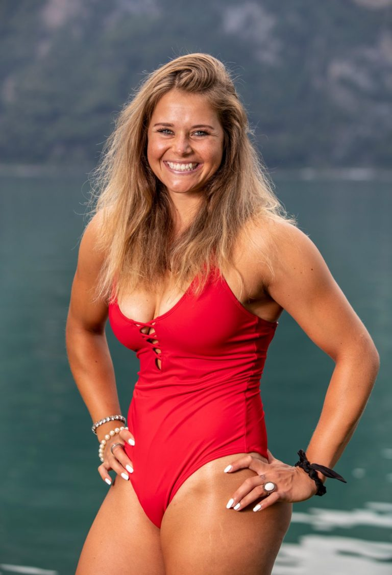 Corinne Suter in a Red Swimsuit at a Photoshoot, August 2020 12