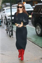 Emily Ratajkowski in Black Transparent Dress Out and About in New York 2020/10/26 15