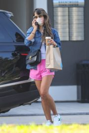 Jordana Brewster in a Pink Shorts Out for Coffee in Brentwood 2020/09/22 1