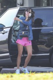 Jordana Brewster in a Pink Shorts Out for Coffee in Brentwood 2020/09/22 2