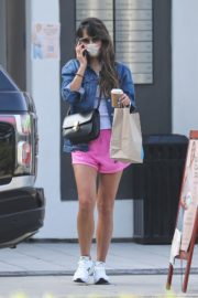 Jordana Brewster in a Pink Shorts Out for Coffee in Brentwood 2020/09/22 3
