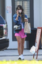 Jordana Brewster in a Pink Shorts Out for Coffee in Brentwood 2020/09/22 4