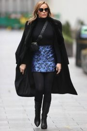 Amanda Holden Black Winter Chic Style arrives at Heart Radio in London 11/28/2020 1