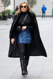 Amanda Holden Black Winter Chic Style arrives at Heart Radio in London 11/28/2020 3