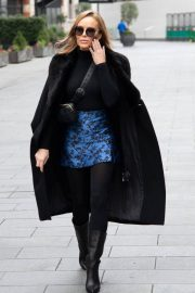 Amanda Holden Black Winter Chic Style arrives at Heart Radio in London 11/28/2020 4