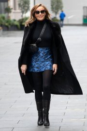 Amanda Holden Black Winter Chic Style arrives at Heart Radio in London 11/28/2020 5