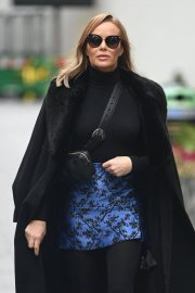 Amanda Holden Black Winter Chic Style arrives at Heart Radio in London 11/28/2020 6