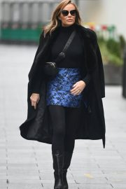 Amanda Holden Black Winter Chic Style arrives at Heart Radio in London 11/28/2020 8