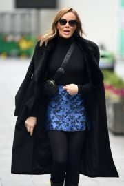 Amanda Holden Black Winter Chic Style arrives at Heart Radio in London 11/28/2020 9