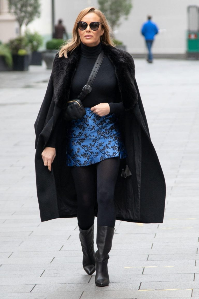 Amanda Holden Black Winter Chic Style arrives at Heart Radio in London 11/28/2020 10