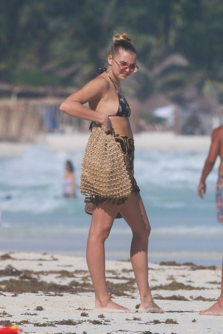 American Model Rachel Hilbert in Bikini at a Beach in Tulum 11/26/2020 9