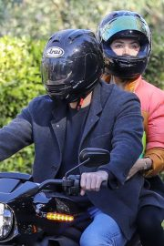 Ana de Armas and Ben Affleck Out Driving on Electric Harley Davidson in Brentwood 2020/11/27 11