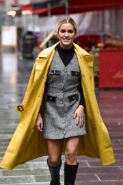 Ashley Roberts in Yellow Long Coat Leaves Global Radio in London 2020/10/29 1