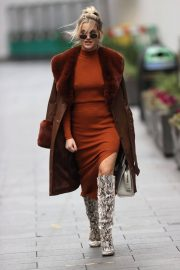Ashley Roberts seen in Rust Color Dress Arrives at Heart Radio in London 11/24/2020 6