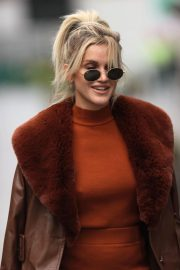 Ashley Roberts seen in Rust Color Dress Arrives at Heart Radio in London 11/24/2020 9