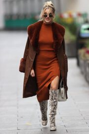Ashley Roberts seen in Rust Color Dress Arrives at Heart Radio in London 11/24/2020 11