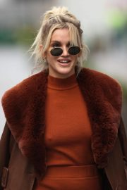Ashley Roberts seen in Rust Color Dress Arrives at Heart Radio in London 11/24/2020 12