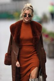 Ashley Roberts seen in Rust Color Dress Arrives at Heart Radio in London 11/24/2020 13