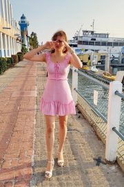 Blanca Blanco in Pink Short Dress Out at a Beach in Malibu 2020/11/22 5