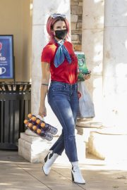 Brittany Furlan in Red and Blue Outfit Out Shopping in Los Angeles 2020/10/28 2