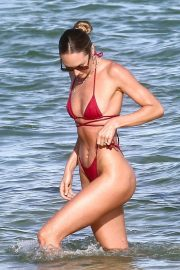 Candice Swanepoel in a Red Bikini at a Beach in Miami 2020/11/16 4