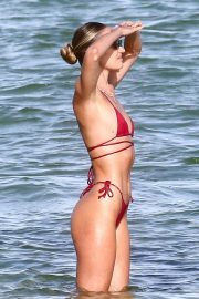 Candice Swanepoel in a Red Bikini at a Beach in Miami 2020/11/16 6