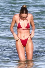 Candice Swanepoel in a Red Bikini at a Beach in Miami 2020/11/16 16