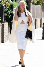 Caprice Bourret in Stylish White Outfit goes a Meeting in London 2020/11/27 2