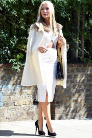 Caprice Bourret in Stylish White Outfit to a Meeting in London 2020/11/27 1