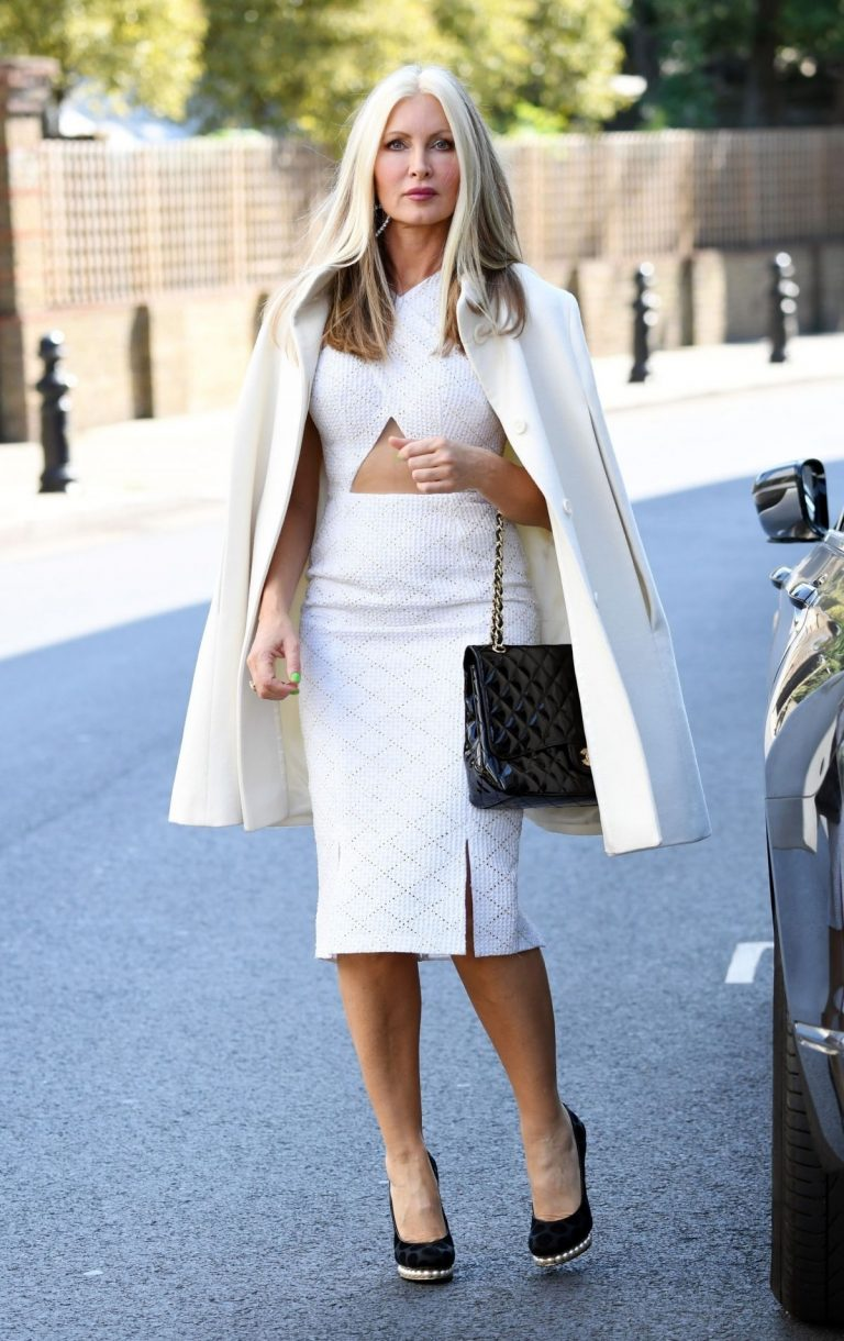 Caprice Bourret in Stylish White Outfit to a Meeting in London 2020/11/27 3