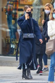 Dianna Agron in Long Black Coat with Face Mask Out in New York 2020/10/20 3