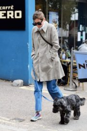 Emma Corrin in Long Coat Out with Her Dog in London 2020/10/18 1